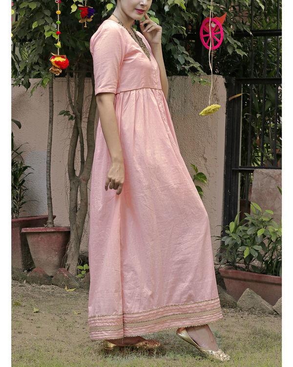 Peach gold maxi dress 1