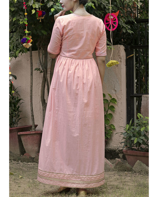 Peach gold maxi dress 3