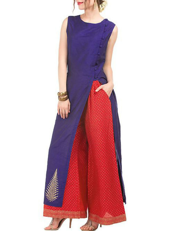 Blue and red tunic & palazzo with butta block print 2