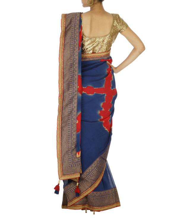 Navy blue and red chiffon saree 1