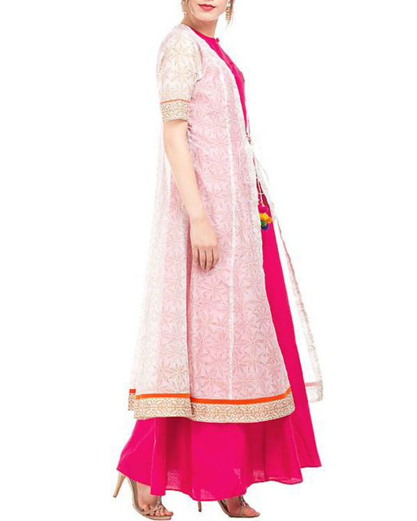 Pink and white chanderi tunic with block prints 3