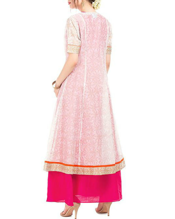 Pink and white chanderi tunic with block prints 2