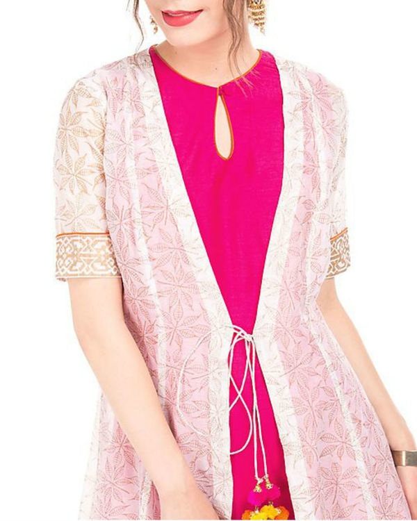 Pink and white chanderi tunic with block prints 1