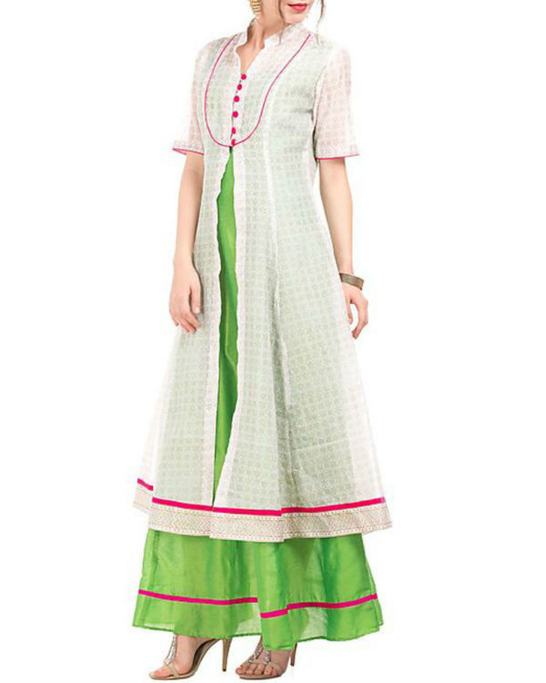 Green and white chanderi tunic with block prints 2