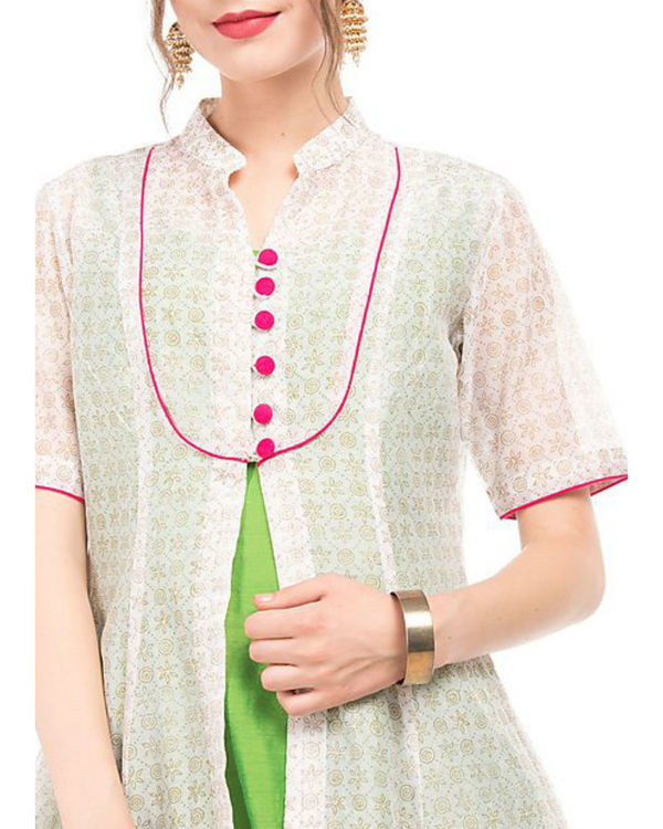 Green and white chanderi tunic with block prints 1