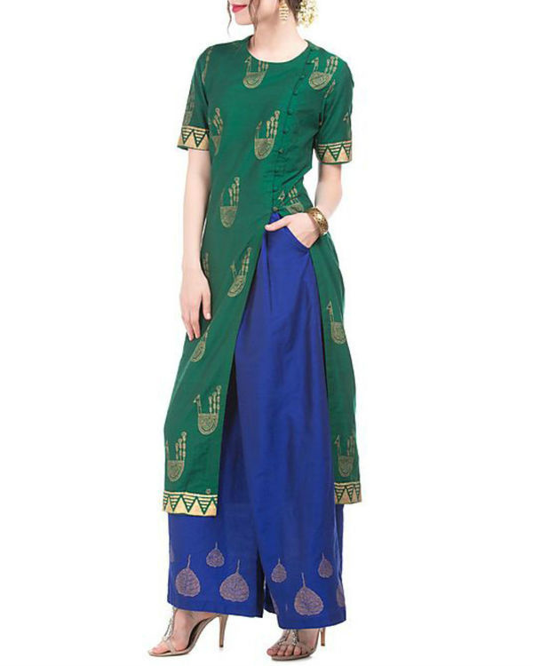 Green and blue kurta and palazzo set with motif print 3