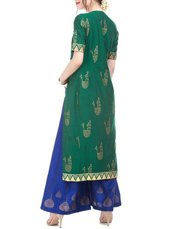 Green and blue kurta and palazzo set with motif print 2