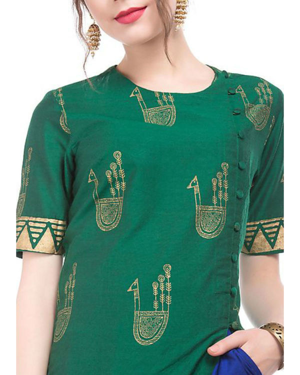 Green and blue kurta and palazzo set with motif print 1