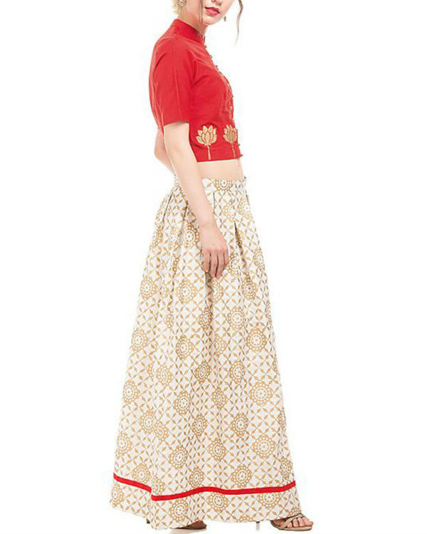 Red and white crop top and skirt with golden block prints 3