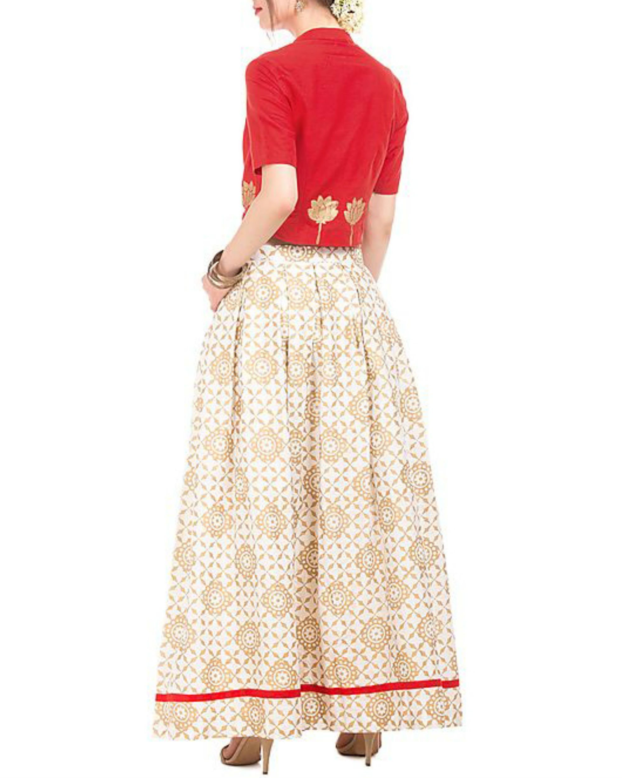 02a5acc2227 Red and white crop top and skirt with golden block prints