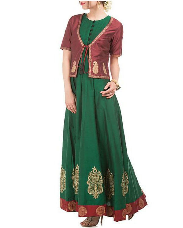 Green and maroon cotton silk anarkali and jacket 3