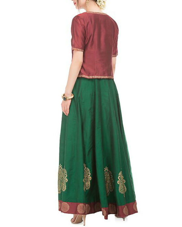 Green and maroon cotton silk anarkali and jacket 2