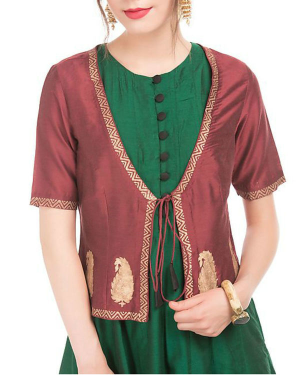 Green and maroon cotton silk anarkali and jacket 1
