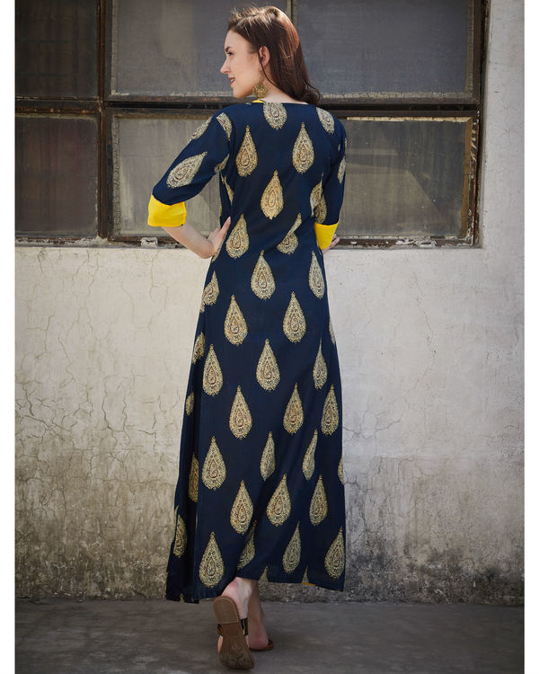 Pineapple and Navy Cape Dress 3