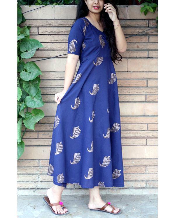 Navy blue ankle length gold leaf maxi dress 1
