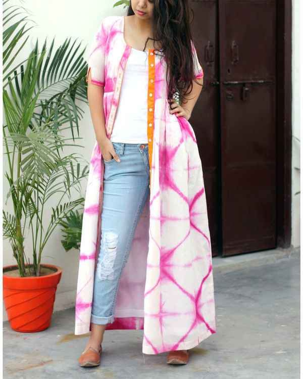 Pink and white tie dye cape 2
