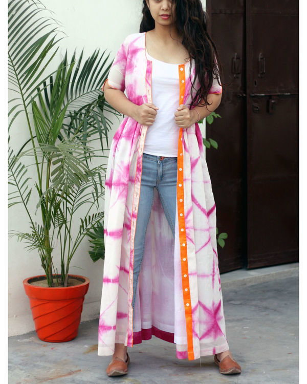Pink and white tie dye cape 1