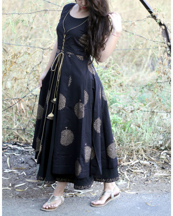 Black and gold tree print jacket dress 1