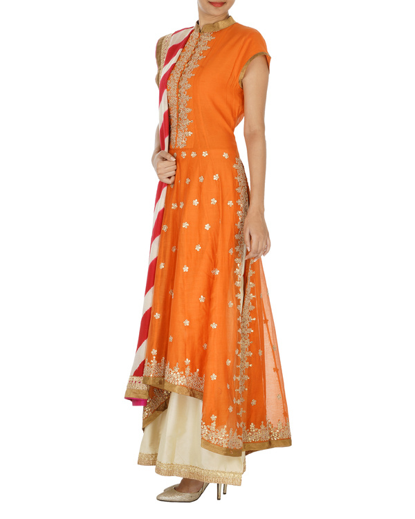 Orange and beige chanderi gota kurta set 2