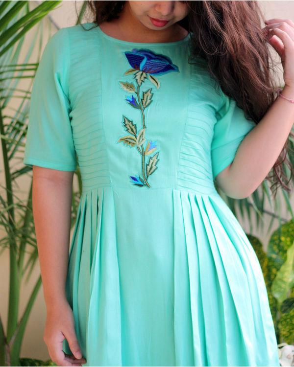 Aqua green maxi dress 1