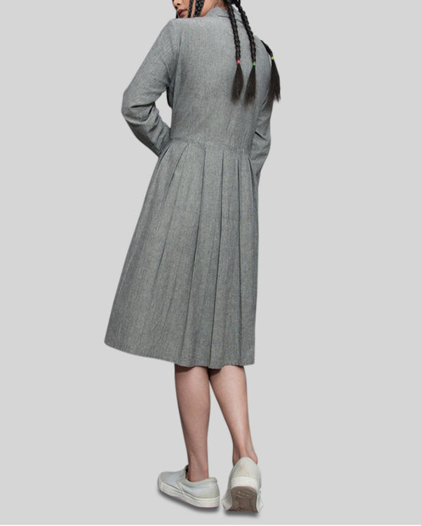 Grey a line pleat dress 2