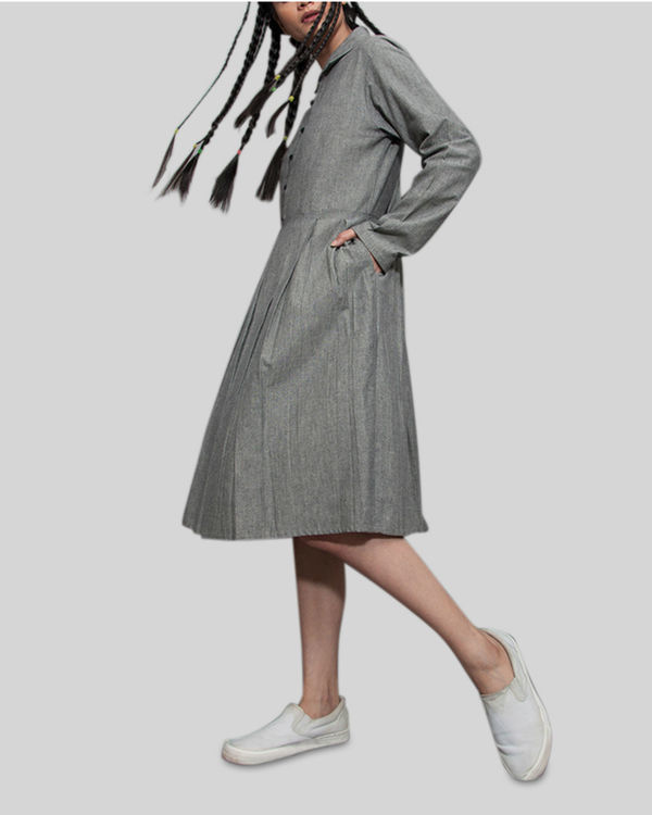 Grey a line pleat dress 1