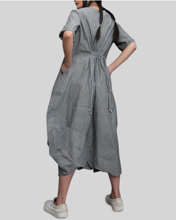 Grey jumpsuit cowl dress 2