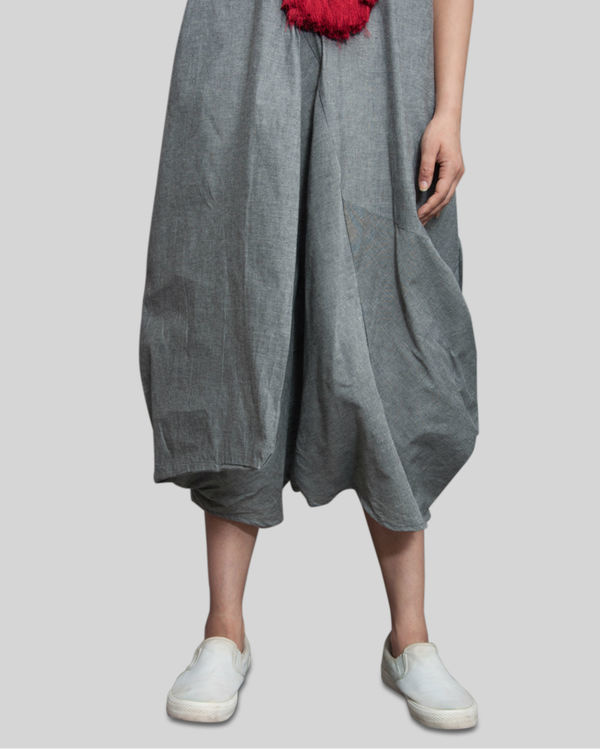 Grey jumpsuit cowl dress 1