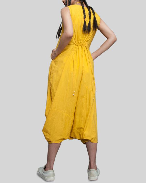 Yellow sleeveless jumpsuit cowl dress 3