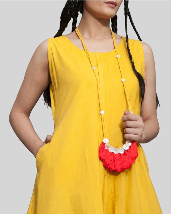 Yellow sleeveless jumpsuit cowl dress 2