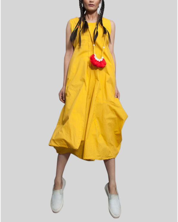 Yellow sleeveless jumpsuit cowl dress 1