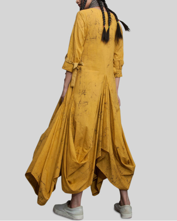 Mustard crush effect cowl dress 2
