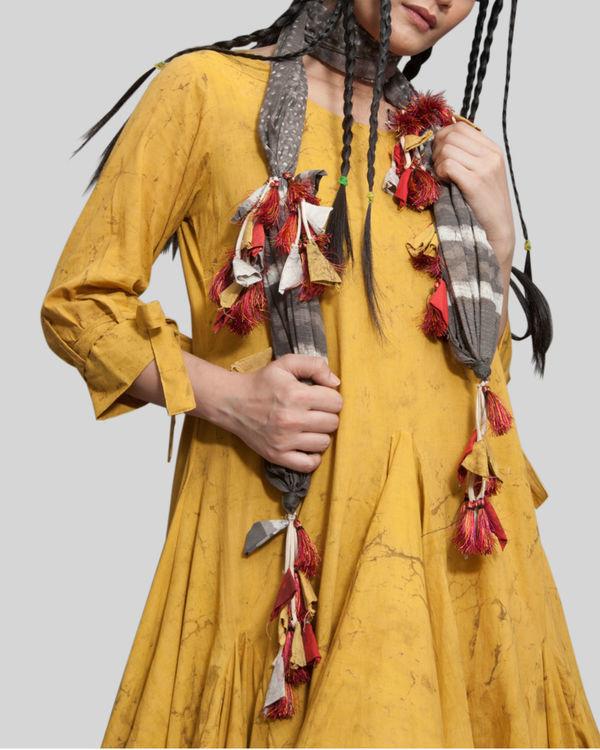 Mustard crush effect cowl dress 1