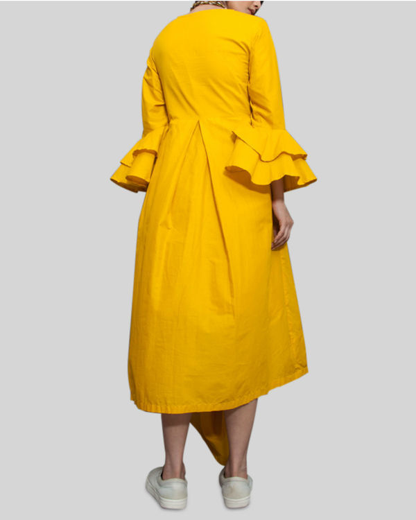 Yellow cowl and drape dress 2