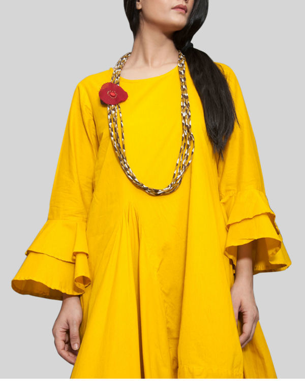 Yellow cowl and drape dress 1