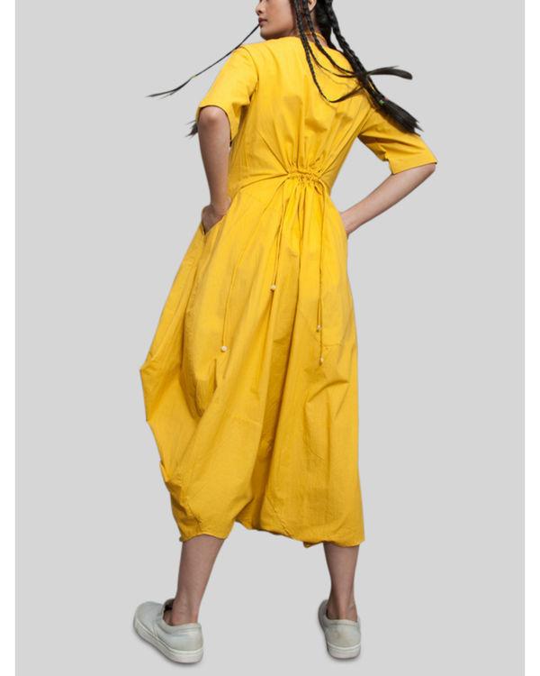Mustard jumpsuit cowl dress 1