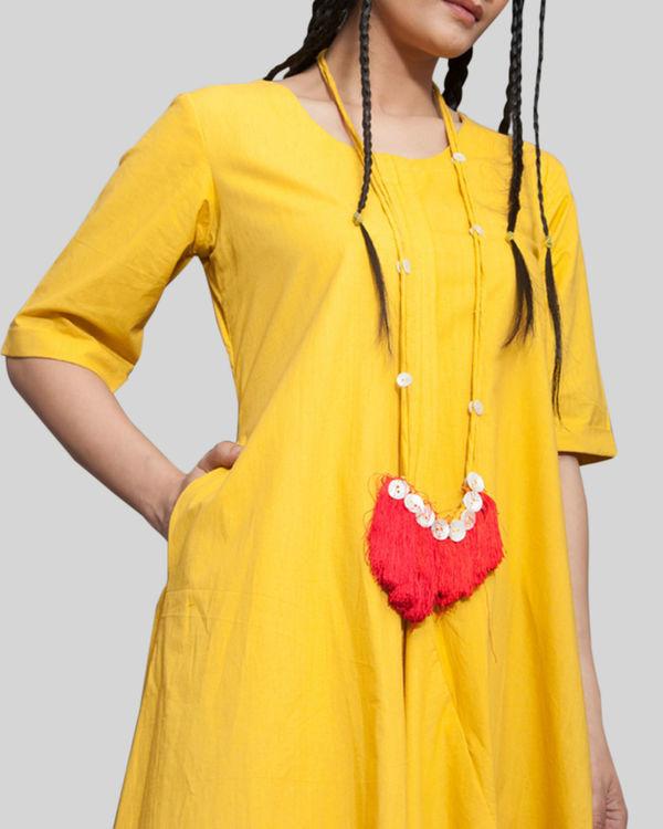 Mustard jumpsuit cowl dress 2