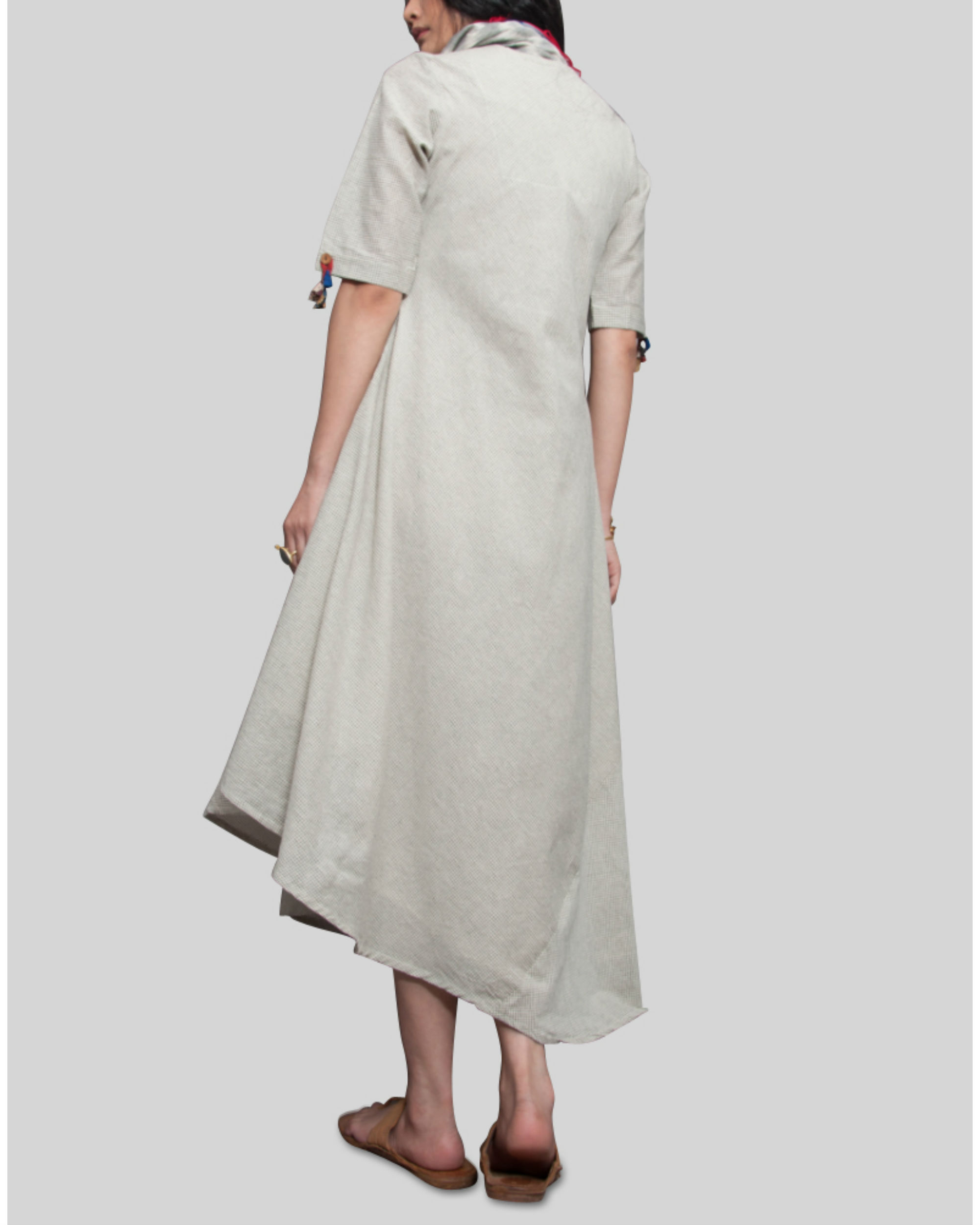 Cowl Dress: Off White With Black Box Effect Cowl Dress By BOHAME