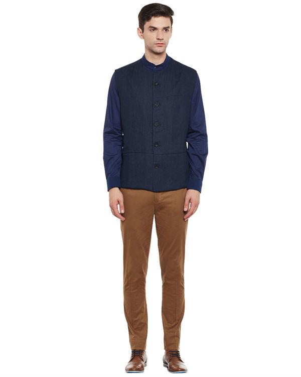 Indigo cotton safe pocket shirt 3