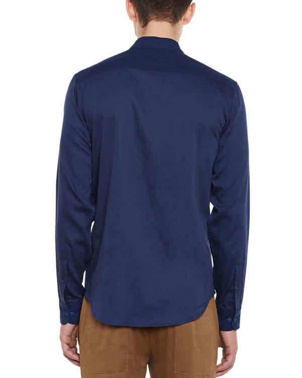 Indigo cotton safe pocket shirt 1