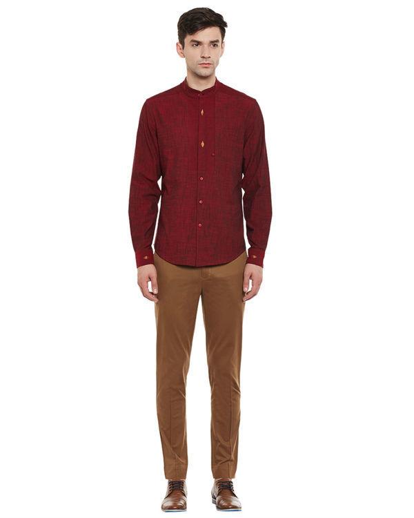 Maroon mangalgiri cotton slub safe pocket shirt 3