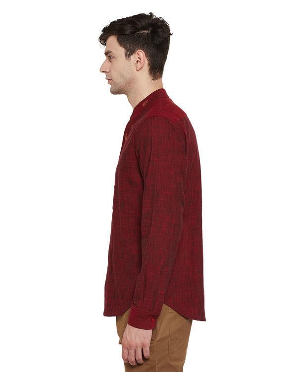 Maroon mangalgiri cotton slub safe pocket shirt 2