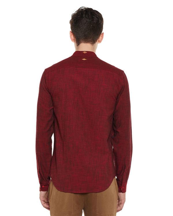 Maroon mangalgiri cotton slub safe pocket shirt 1