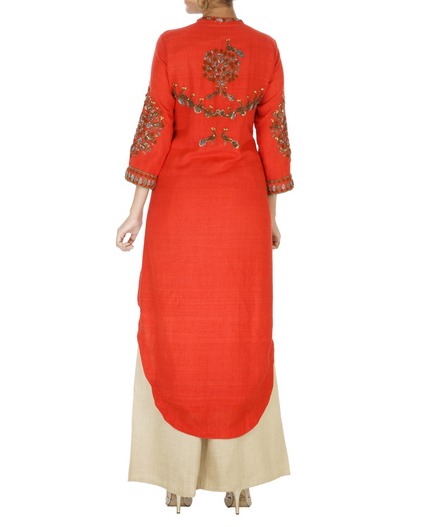 Red and beige matka kurta set 1