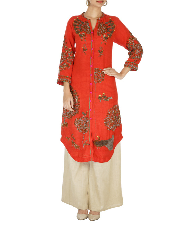Red and beige matka kurta set 2