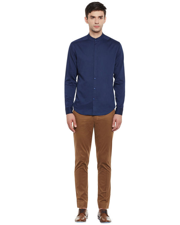 Indigo cotton slim fit shirt 3