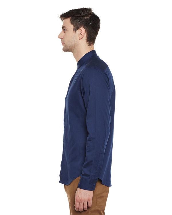Indigo cotton slim fit shirt 2