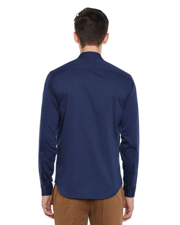 Indigo cotton slim fit shirt 1