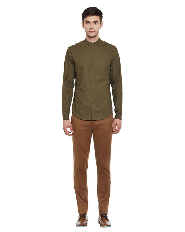 Olive cotton slim fit shirt 3
