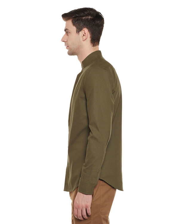 Olive cotton slim fit shirt 2